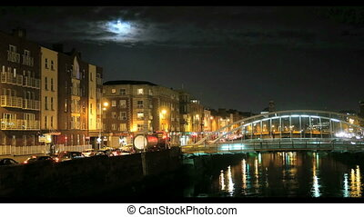 Night view of Ha'Penny Bridge - Night view of famous...