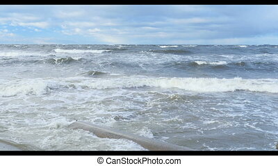 storm seascape - crushing water waves with white  foam