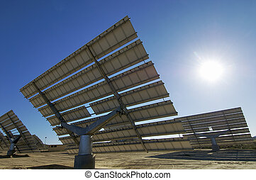 solar energy - Solar field with blue sky