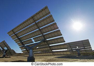 solar energy - Solar field with blue sky