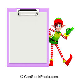 Elves character with notepad - Cartoon character of elves...