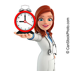 Young Doctor with table clock - Illustration of Young Doctor...