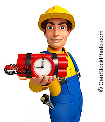 Young Mechanic with time bomb - Illustration of young...