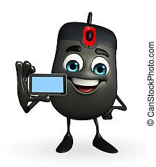 Computer Mouse Character with mobile