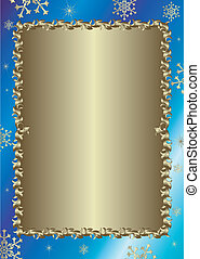 Christmas blue frame with silvery vintage ornament vector...