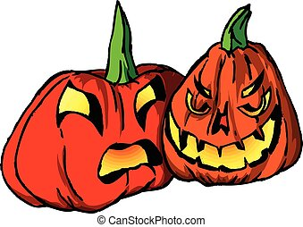 Jack-O-Lanterns - Classic carved pumpkins for use in a...