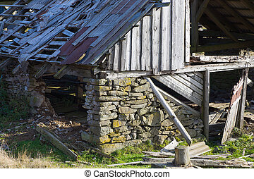cattle-breeding farm - Ruin of wooden cattle-breeding farm...
