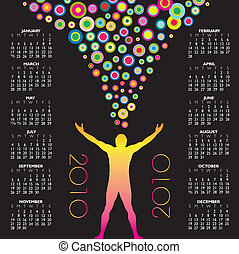 2010 calendar with a colorful man