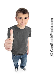 Boy thumbs up sign - A pre teen boy with hand thumbs up sign...