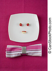 funny plate face - a plate with candys making a funny face