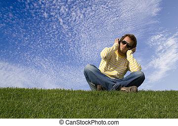 enjoying good music - Relax in nature enjoying good music