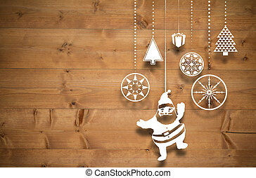Composite image of hanging christmas decorations - Hanging...