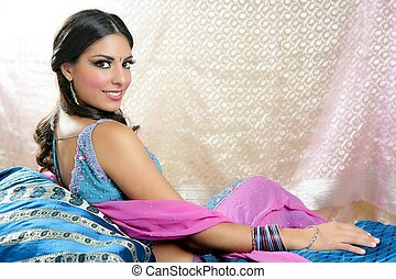 Beautiful indian brunette woman portrait - Beautiful indian...