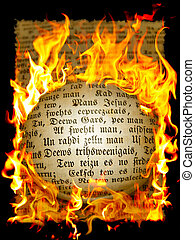 old text in flame - page from old book with text in flame