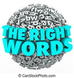 Right Words Letter Sphere Ball Finding Best Message...