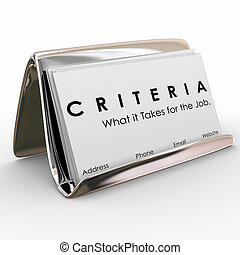 Criteria Business Card What it Takes for Job Skills Worker...