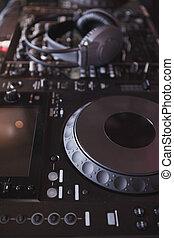 sonido, batidora, de, dj, plato giratorio,