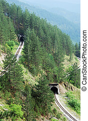 Railroad tunnels in tourist resort Mokra Gora in Serbia