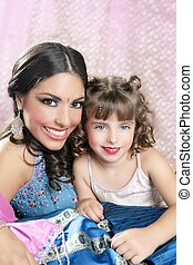 Beautiful portrait of magic queen and princess