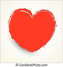 Grunge Heart Shape - Grunge Red Love Heart Vector Shape...