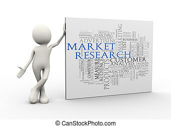 3d man standing with market research wordcloud word tags