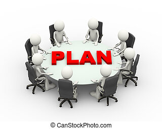 3d people business meeting conference plan table