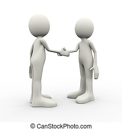 3d people handshake - 3d illustration of business person...
