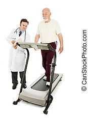 Doctor Monitors Senior on Treadmill - Doctor monitoring a...