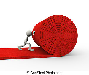 3d man unrolling rolling red carpet - 3d illustration of man...