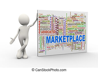 3d man standing with marketplace wordcloud word tags - 3d...