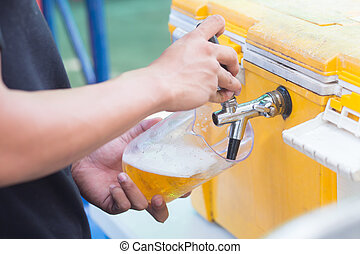 Draft beer dispenser in party or pub
