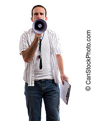 Strict Coach - A strict coach is using his megaphone to yell...