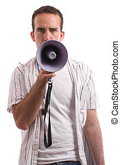 Coaching - A young coach is talking into a megaphone,...