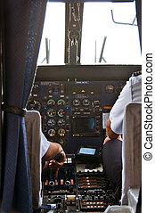 Plane Cockpit - Small Plane Cockpit with Crew Preparing for...