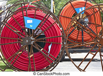 Red and Orange Cable Conduit