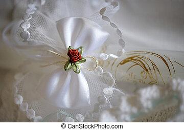 decorazione, bianco,  set, rosso, matrimonio