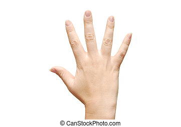 women hand show the number five