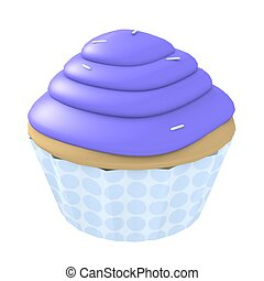 Blue cupcake - 3d computer generated