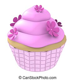 Pink flower cupcake- 3d computer generated - 3D generated...
