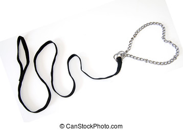 Pet Concept - A black leash with a chain collar in the shape...