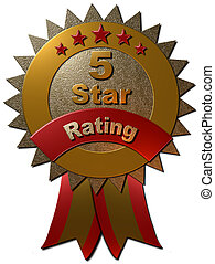 5 Star Rating Seal with ribbons - A 3D gold and red metallic...