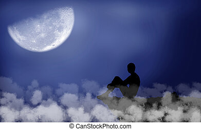 Moon - Black silhouette of a boy which sits under the moon