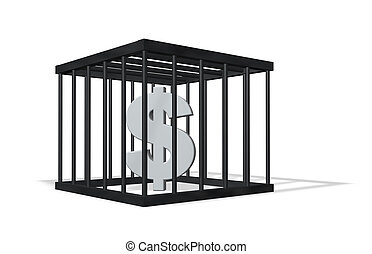 dollar crime - dollar sign in a cage on white background -...