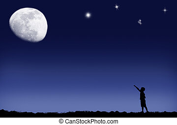 Under the moon - The boy specifies in the bright moon