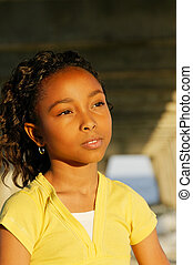 Soulful Look - An African-American girl at the beach.