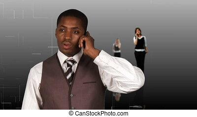 Business people calling by phone