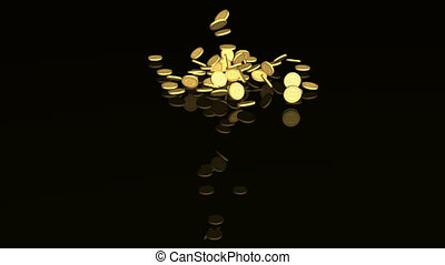 Round white pills falling down against black background