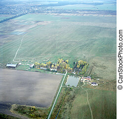 Small training airdrome. Aerial image. Kyiv region, Ukraine....