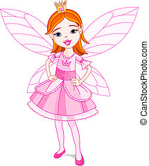 Fairy Princess - Illustration of a cute little fairy. Wings...