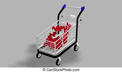 Trolley with a lot of percentages concept of discount